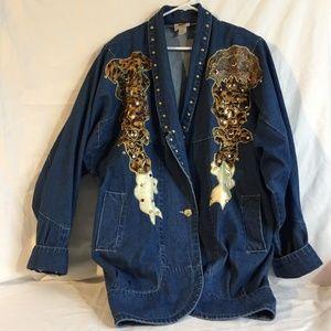Vintage 80's Denim Blue Jean Jacket XL Western